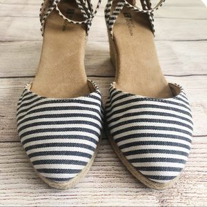 White Mountain Blue Striped Espadrille Wedges
